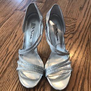 Nina Silver Heels. Size 7M.